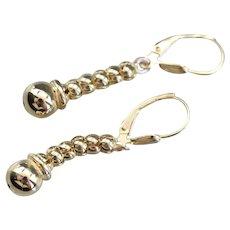 Vintage 14 Karat Gold Beaded Drop Earrings