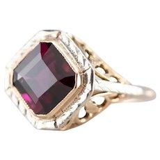 Vintage Grape Garnet Solitaire Ring
