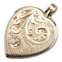 Retro Era Engraved Heart Locket