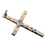 Diamond Two Tone Cross Pendant