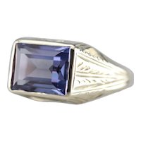 Upcycled Etched  Synthetic Alexandrite Ring