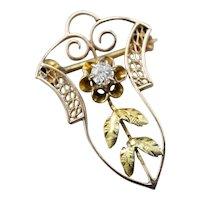 Art Nouveau Old Mine Cut Diamond Buttercup Pin
