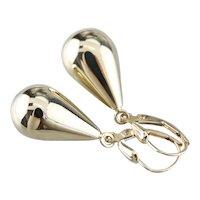 Yellow 14 Karat Gold Teardrop Dangle Earrings