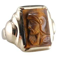 Vintage Men's Tiger's Eye Cameo Ring