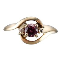 Vintage Ruby and Diamond Bypass Ring
