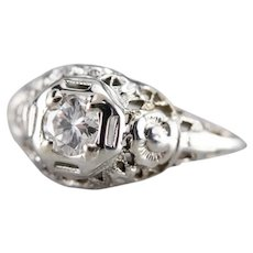 Upcycled Floral Deco Diamond Solitaire Ring