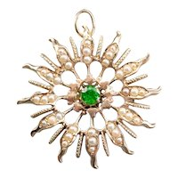 Antique Demantoid Garnet and Seed Pearl Brooch or Pendant