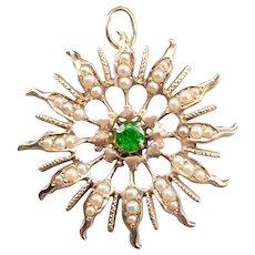 Antique Demantoid Garnet and Seed Pearl Brooch or Pendant