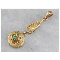Art Nouveau Emerald Lavalier Pendant