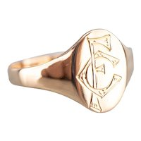"Victorian ""FC"" Monogrammed Signet Ring"