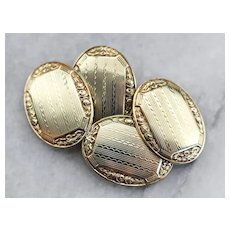 Late Art Deco Etched Cufflinks