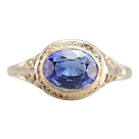 East West Sapphire Solitaire Ring