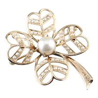 Antique Cultured Pearl Four Leaf Clover Brooch or Pendant