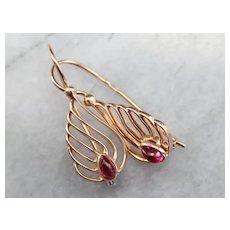 Scrolling Rose 14 Karat Gold Garnet Earrings