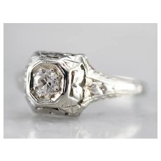 Art Deco Old Mine Diamond Solitaire Ring
