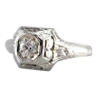 Art Deco Old Mine Diamond Solitaire Ring