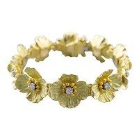 High Karat Diamond Flower Link Bracelet