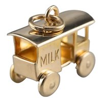 Vintage Moving Milk Cart Charm
