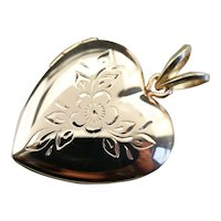 Vintage Heart Etched Floral Locket