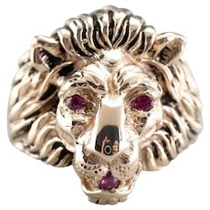Ruby Eyed Lion Head Statement Ring