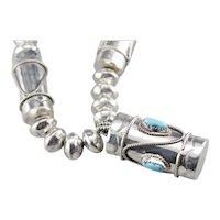 Ceremonial Navajo Turquoise Drum Beaded Necklace