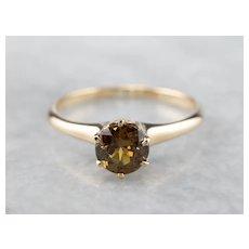 Golden Demantoid Garnet Solitaire Ring