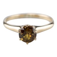 Golden Demantoid Garnet Solitaire Ring