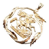Large Saint George and Dragon Pendant