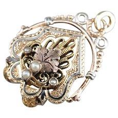 Ornate Enameled Cultured Seed Pearl Pendant