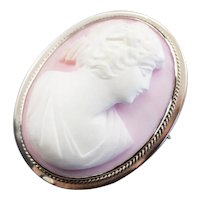 Pretty Pink Shell Cameo Brooch or Pendant