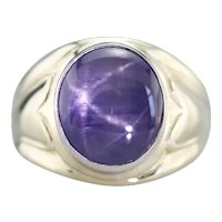 Men's Retro Era Purple Star Sapphire Ring