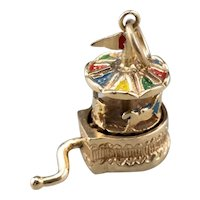 Vintage Moving Carousel Enamel Charm