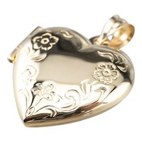 Heart Shaped Engraved Floral Locket