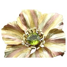 Lovely Flower Pin or Pendant with Peridot Center