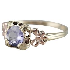 Pretty Purple Sapphire Solitaire Ring