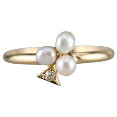 Cultured Pearl and Diamond Spade Ring