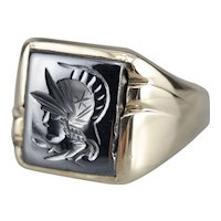 Men's Vintage Hematite Intaglio Statement Ring