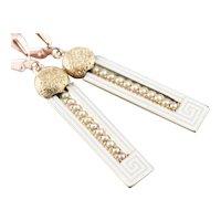 Upcycled Enamel Greek Key Drop Earrings