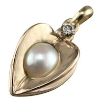 Vintage Diamond and Cultured Pearl Pendant