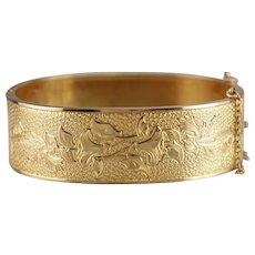 Vintage Gold Fill Floral Bangle Bracelet
