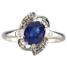 Upcycled Retro Sapphire and Diamond Ring