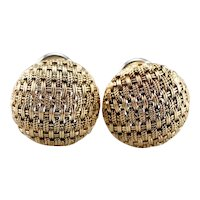 Italian Woven 18 Karat Gold Domed Earrings