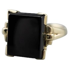 Retro Black Onyx 10K Ring