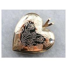 Engraved Vintage Floral Heart Locket