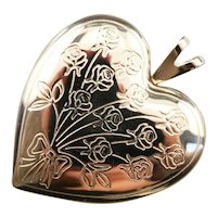 Engraved Vintage Floral Heart Locket