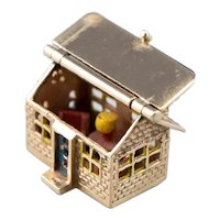 Vintage Enamel and 14 Karat Gold House Charm