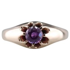 Pink-Purple Sapphire Upcycled Belcher Ring