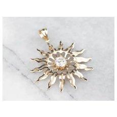Diamond Solitaire Sun Pendant