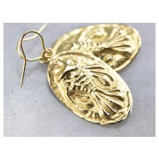 Vintage Repousse Fish Drop Earrings