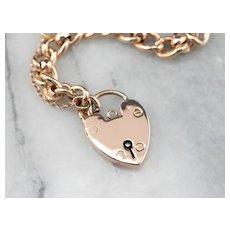 Victorian Heart Padlock Link Bracelet